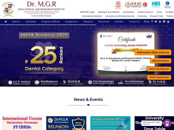 Screenshot of www.drmgrdu.ac.in
