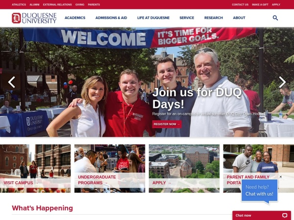 Screenshot of www.duq.edu