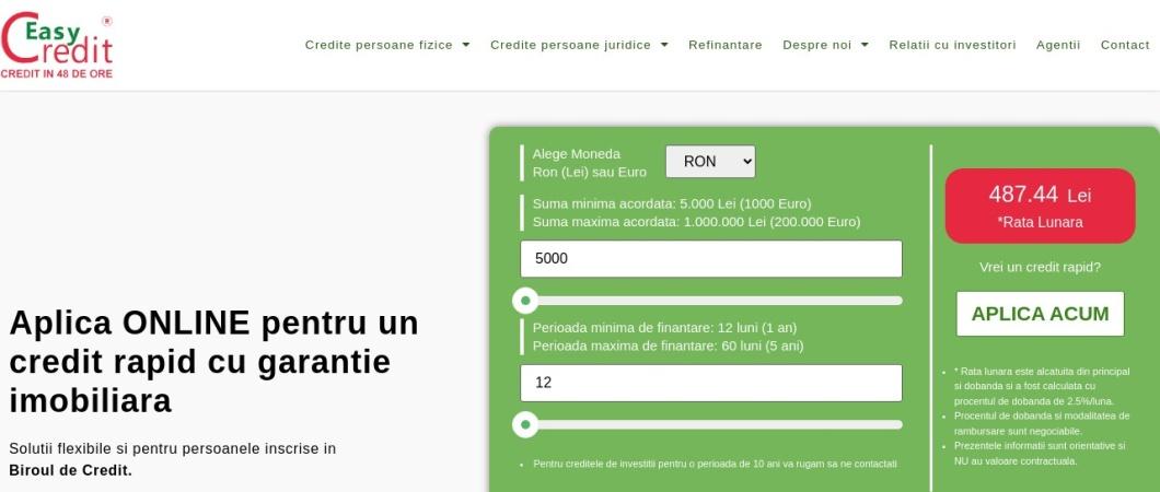 Screenshot of www.easycredit.ro