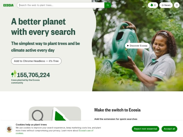 Screenshot of www.ecosia.org