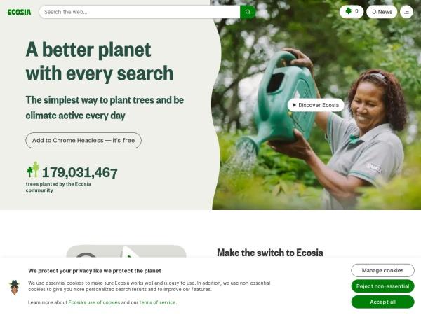 Screenshot of www.ecosia.org