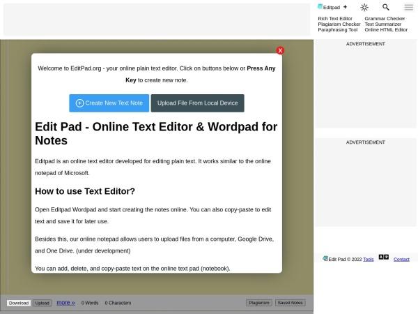 Screenshot of www.editpad.org