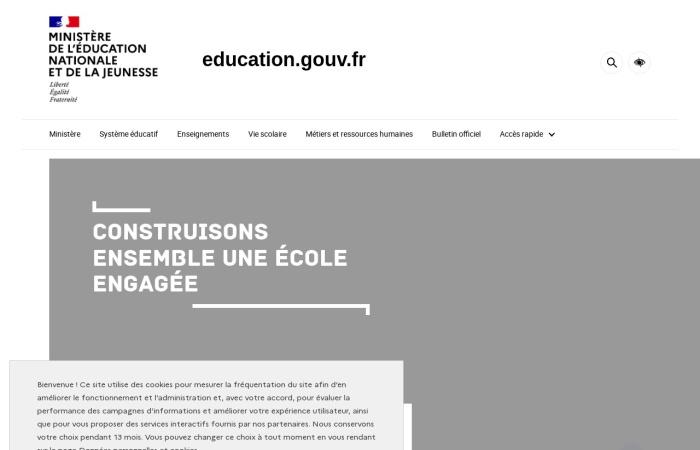 Screenshot of www.education.gouv.fr