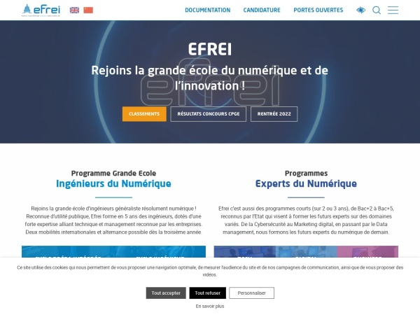 Screenshot of www.efrei.fr