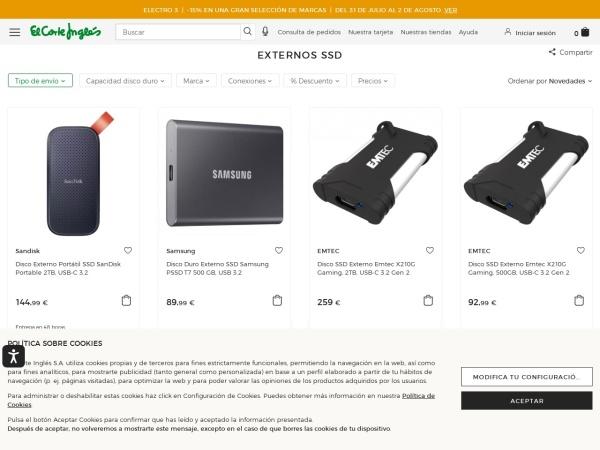 Captura de pantalla de www.elcorteingles.es