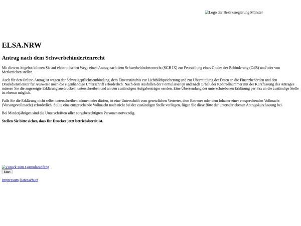 Screenshot von www.elsa.nrw.de