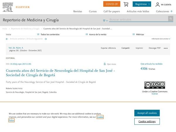 Captura de pantalla de www.elsevier.es