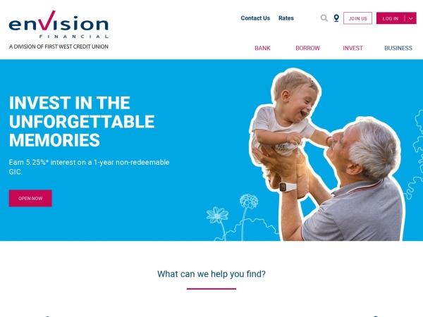 Screenshot of www.envisionfinancial.ca