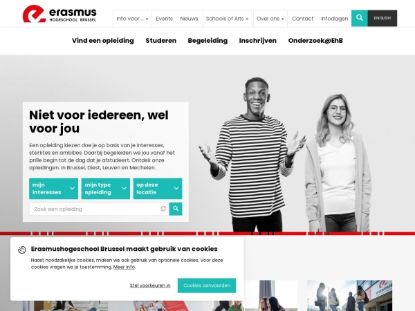 Screenshot of www.erasmushogeschool.be