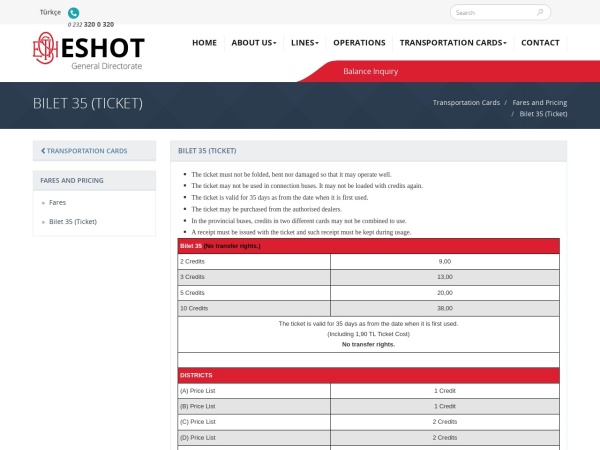 Screenshot of www.eshot.gov.tr