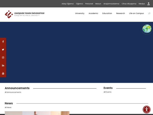 Screenshot of www.eskisehir.edu.tr