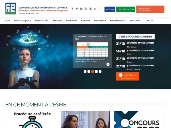 Screenshot of www.esme.fr