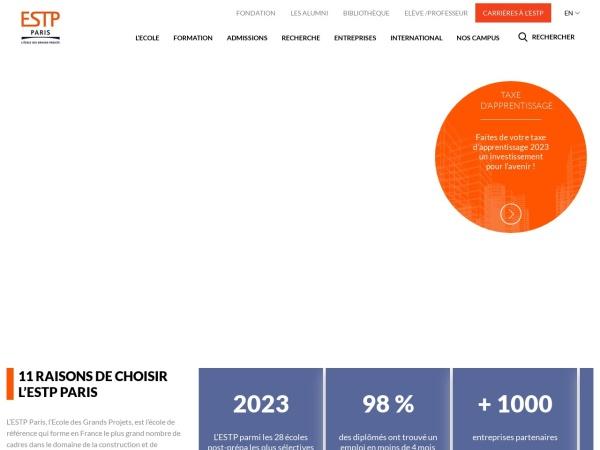 Screenshot of www.estp.fr