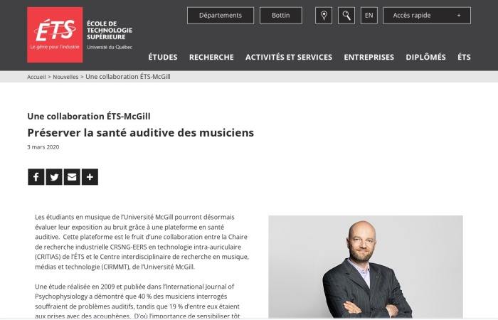 Screenshot of www.etsmtl.ca