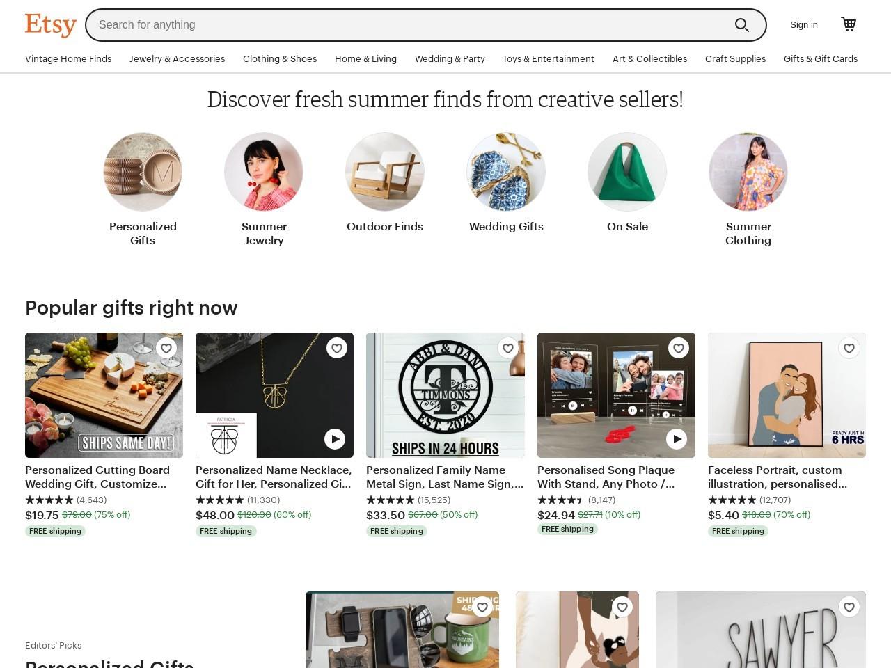 Captura de pantalla de www.etsy.com