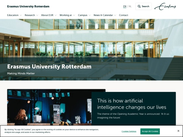 Screenshot of www.eur.nl