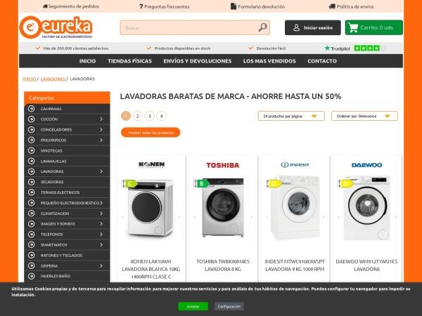 Captura de pantalla de www.eurekaelectrodomesticos.es