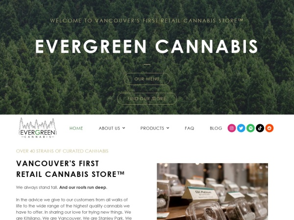 Screenshot of www.evergreencannabissociety.com