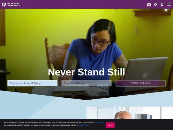 Screenshot of www.excelsior.edu