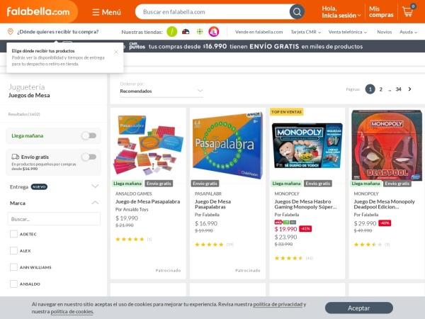 Captura de pantalla de www.falabella.com