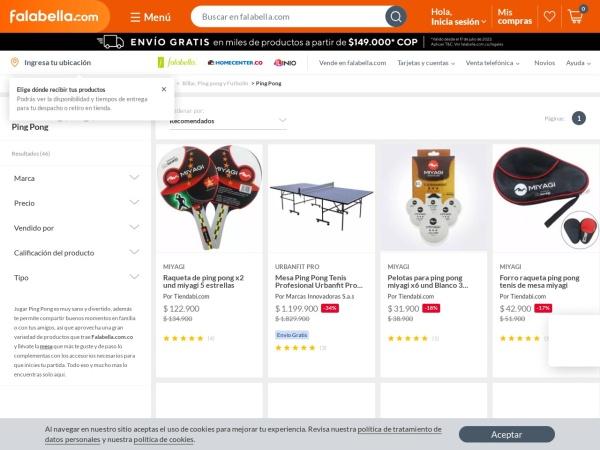 Captura de pantalla de www.falabella.com.co