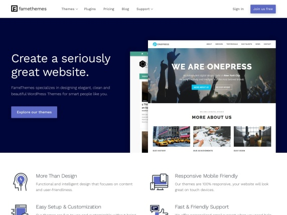 Homepage di FameThemes