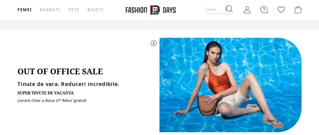 Screenshot of www.fashiondays.ro
