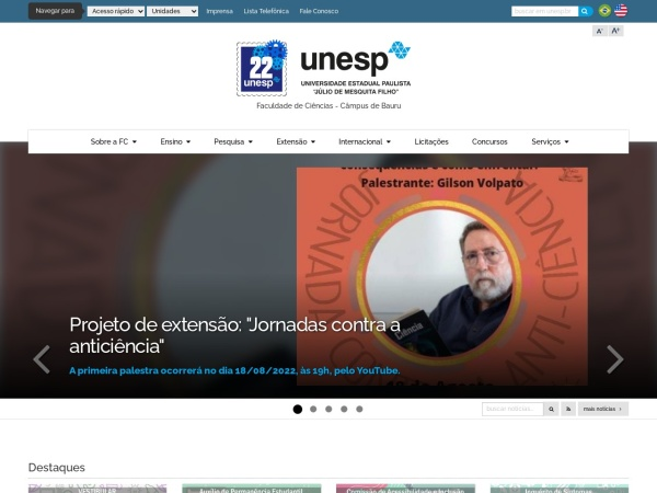 Screenshot of www.fc.unesp.br