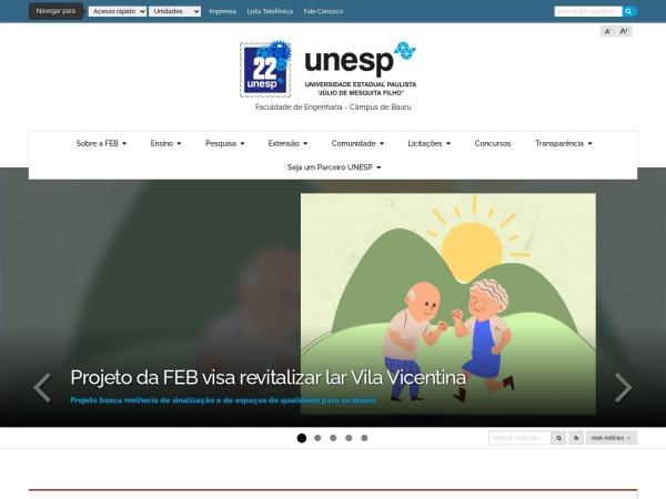 Screenshot of www.feb.unesp.br