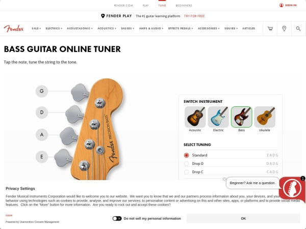 Screenshot of www.fender.com