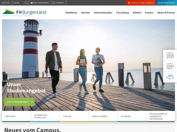 Screenshot of www.fh-burgenland.at