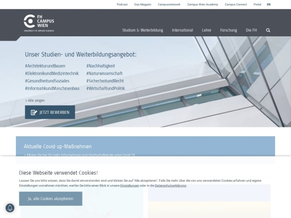 Screenshot of www.fh-campuswien.ac.at