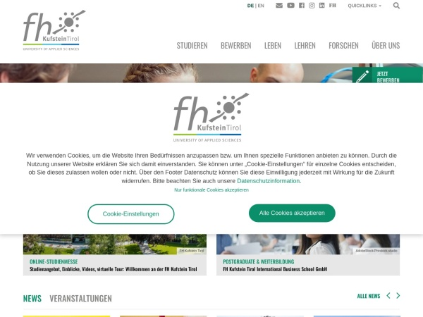 Screenshot of www.fh-kufstein.ac.at