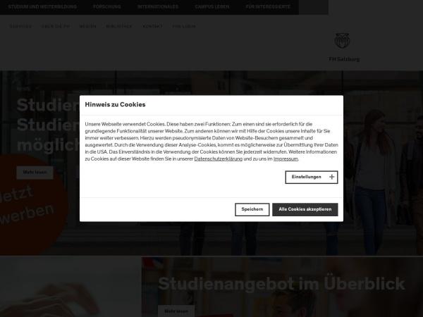Screenshot of www.fh-salzburg.ac.at