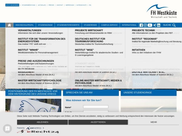 Screenshot of www.fh-westkueste.de