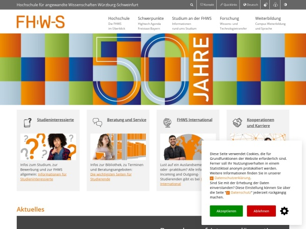 Screenshot of www.fhws.de