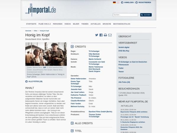 Screenshot von www.filmportal.de