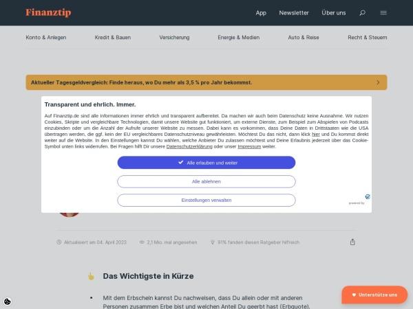 Screenshot von www.finanztip.de