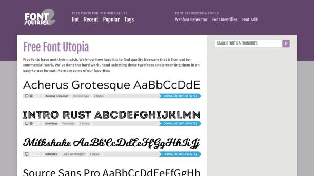 Screenshot of www.fontsquirrel.com