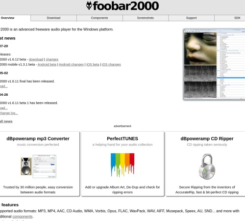 Screenshot of www.foobar2000.org