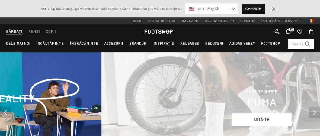 Screenshot of www.footshop.ro