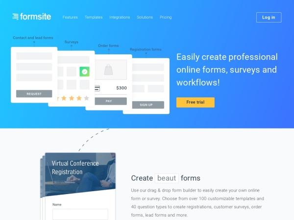 Screenshot of www.formsite.com
