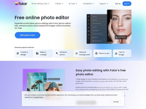 Screenshot of www.fotor.com