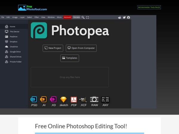 Screenshot of www.freephototool.com