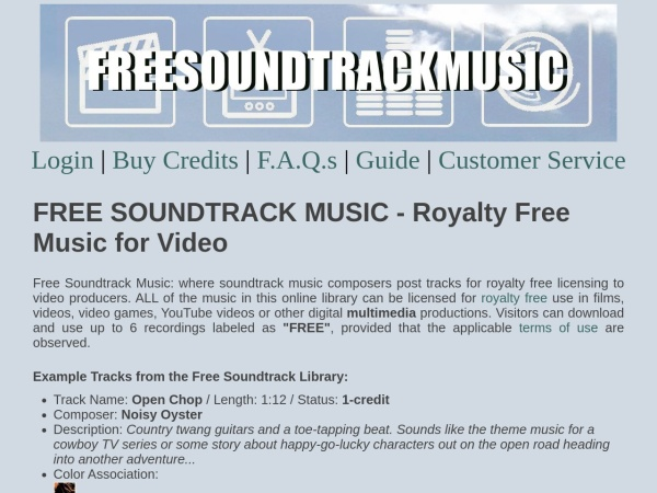Screenshot of www.freesoundtrackmusic.com