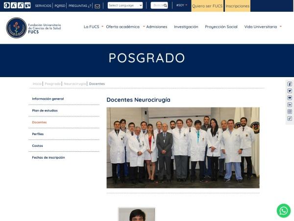 Captura de pantalla de www.fucsalud.edu.co