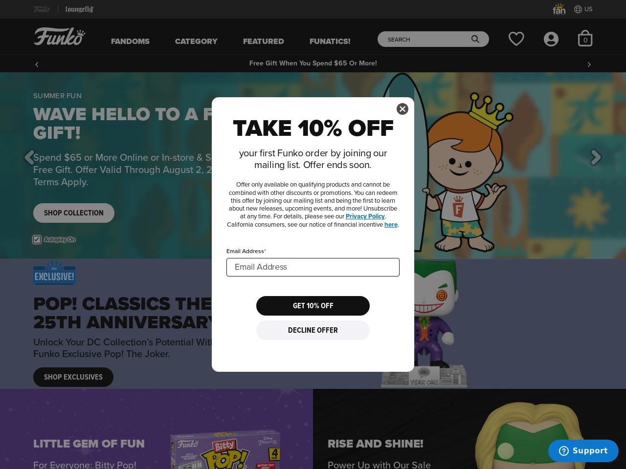 Captura de pantalla de www.funko.com