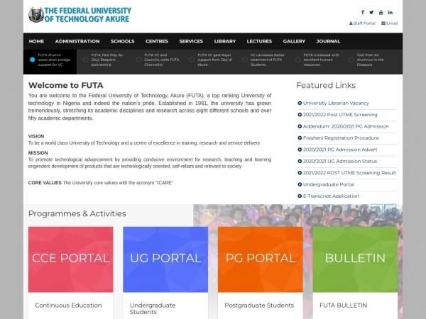 Screenshot of www.futa.edu.ng