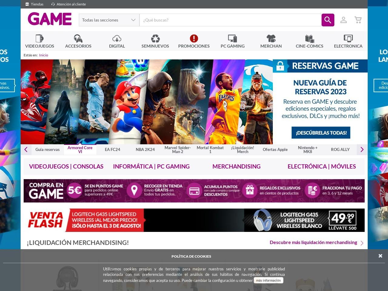 Captura de pantalla de www.game.es