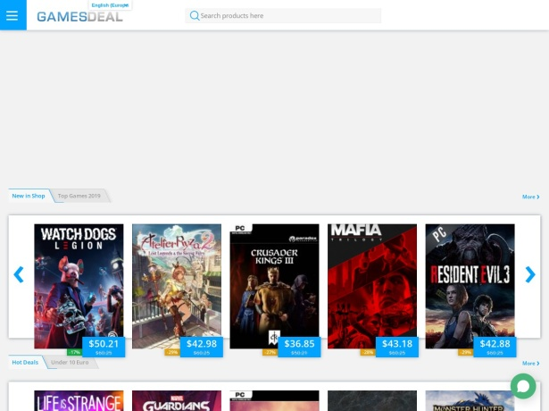 Screenshot of www.gamesdeal.com